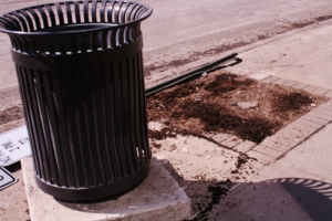 I thanked the police for their city making wrought iron trash cans and cementing them to the sidewalks.
