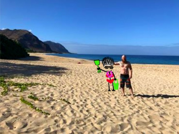 Nephew. Beach. Hawaii.