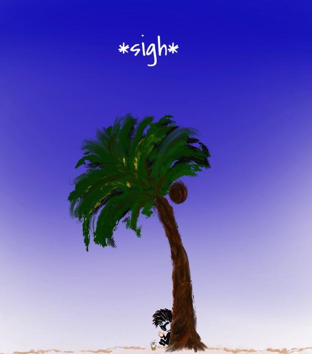 SIgh, Palm Tree, Island, Book, Read