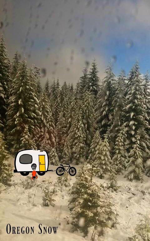 Oregon, Snow., Covid Camper, Bicycle