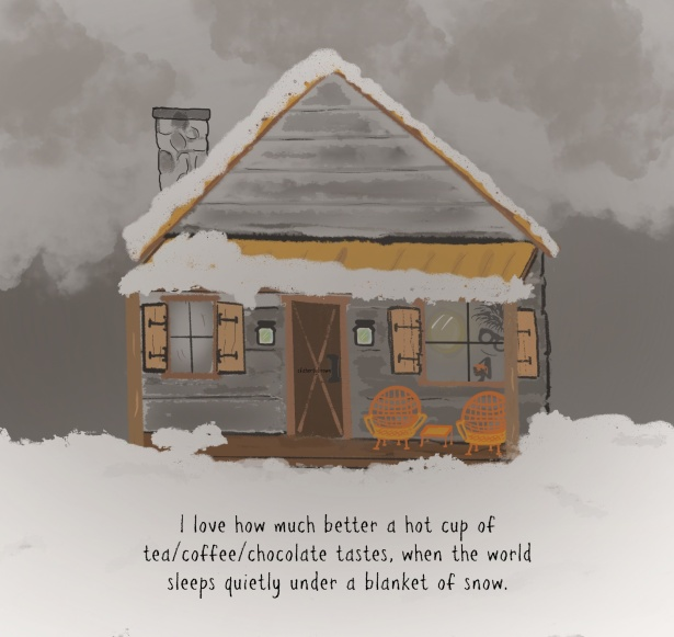 Cabin, Snow, Cup, Coffee, Tea
