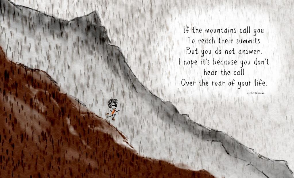 mountain, roar, run