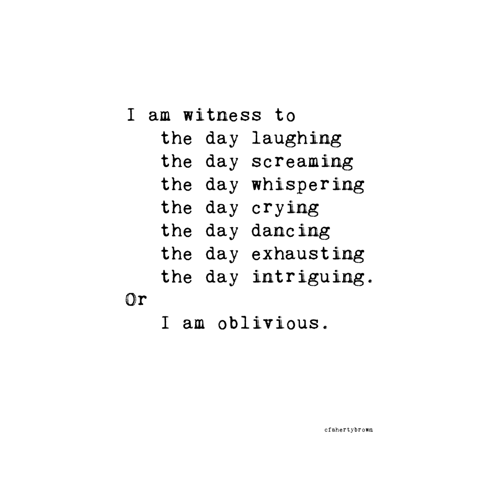 poetry, witness, day, oblivious