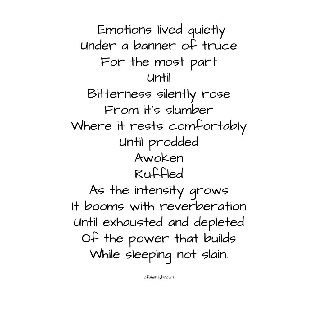 bitter, bitterness, truce, slain, slumber, emotions, trauma, frustration, poetry, poem,