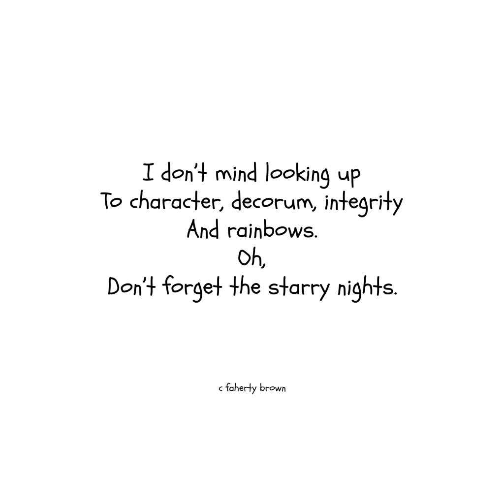starry, night, decorum, integrity, character, rainbows,