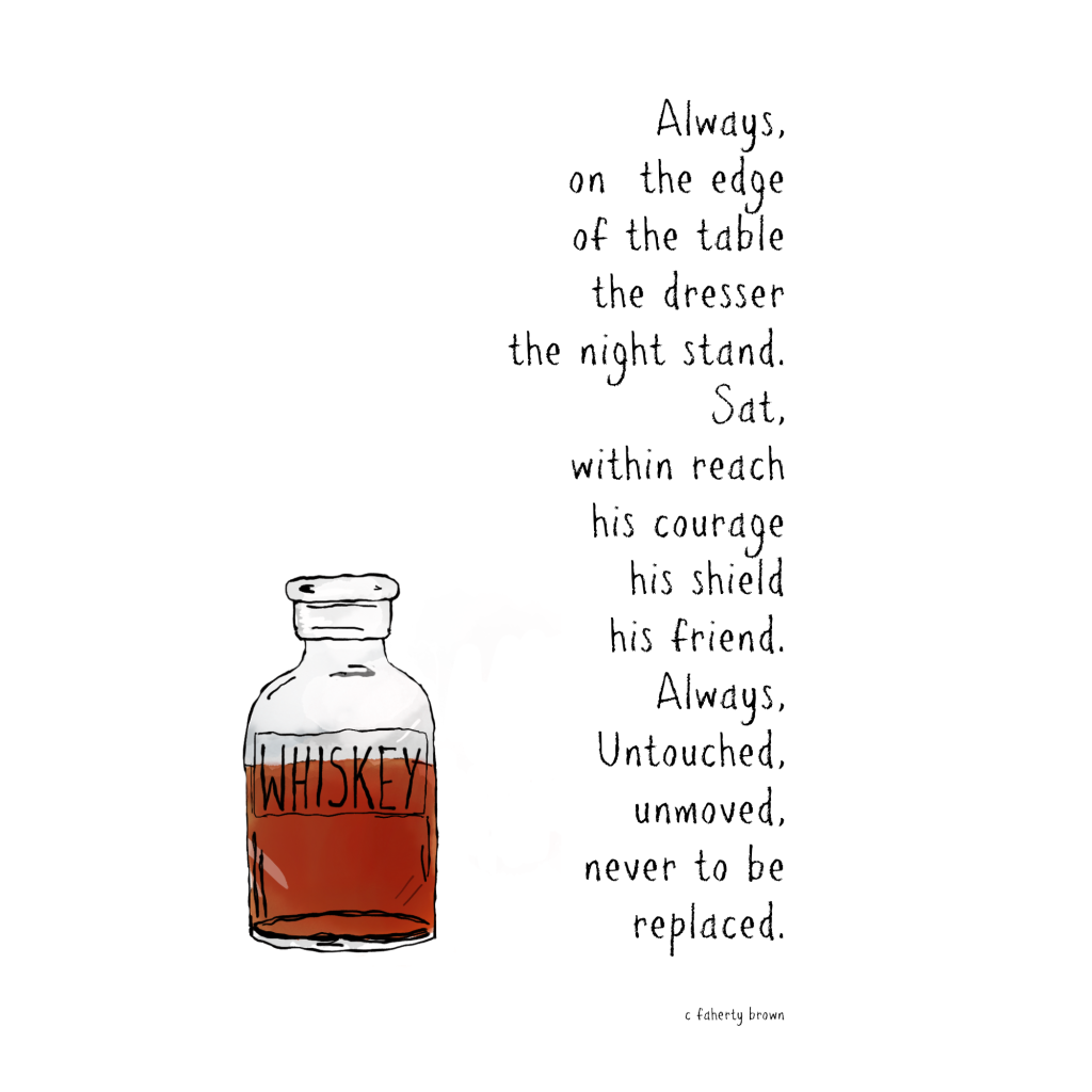 whiskey, lonely, sad, untouched, friend, courage, shield, fiction, draw,