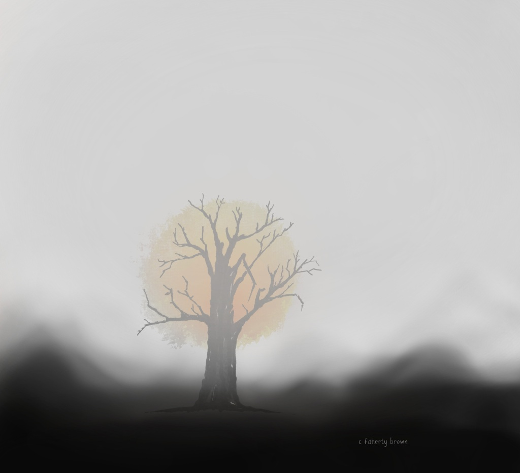 draw, tree, sun, fog, foggy, mist, cover, hidden, exposed,